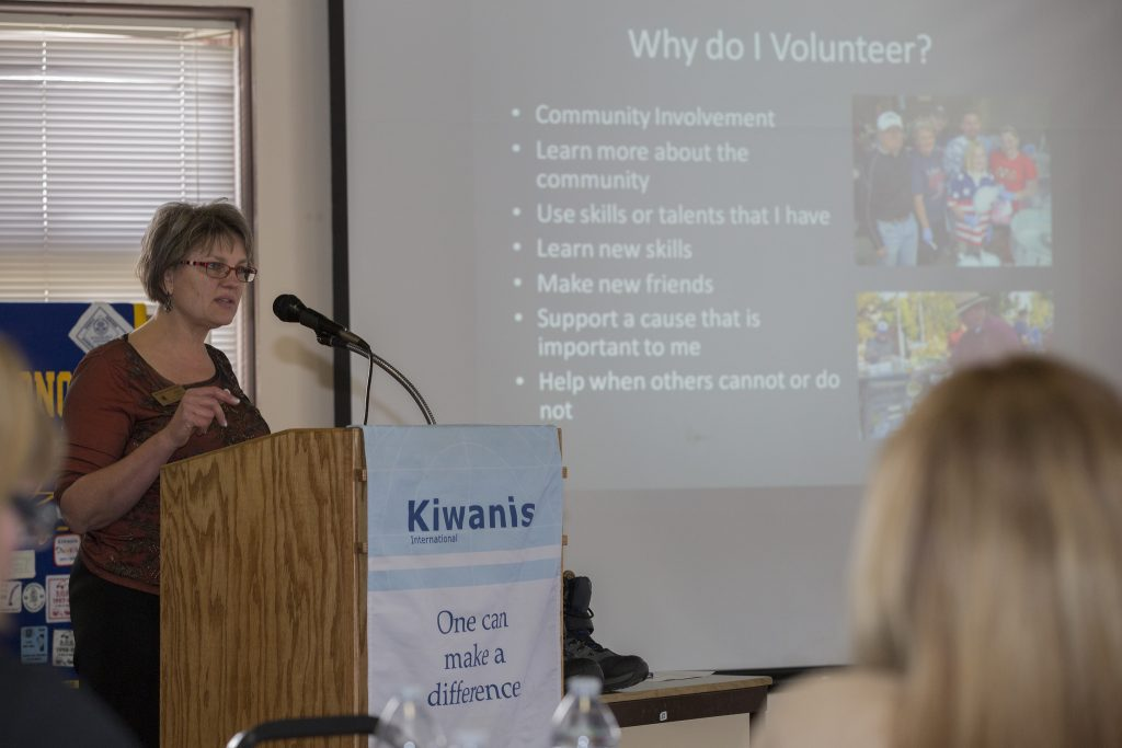 Pullman Chamber of Commerce director Marie Dymkoski presents at a 2015 Pullman Kiwanis meeting.