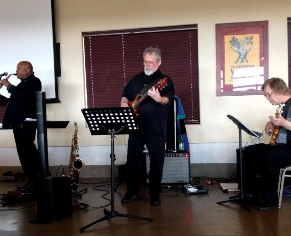 Horace Alexander Young, Dave Snider, and Dave Jarvis play jazz at Pullman Kiwanis