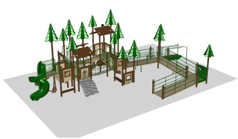 Illustration of forest-themed playground equipment for Mary's Park