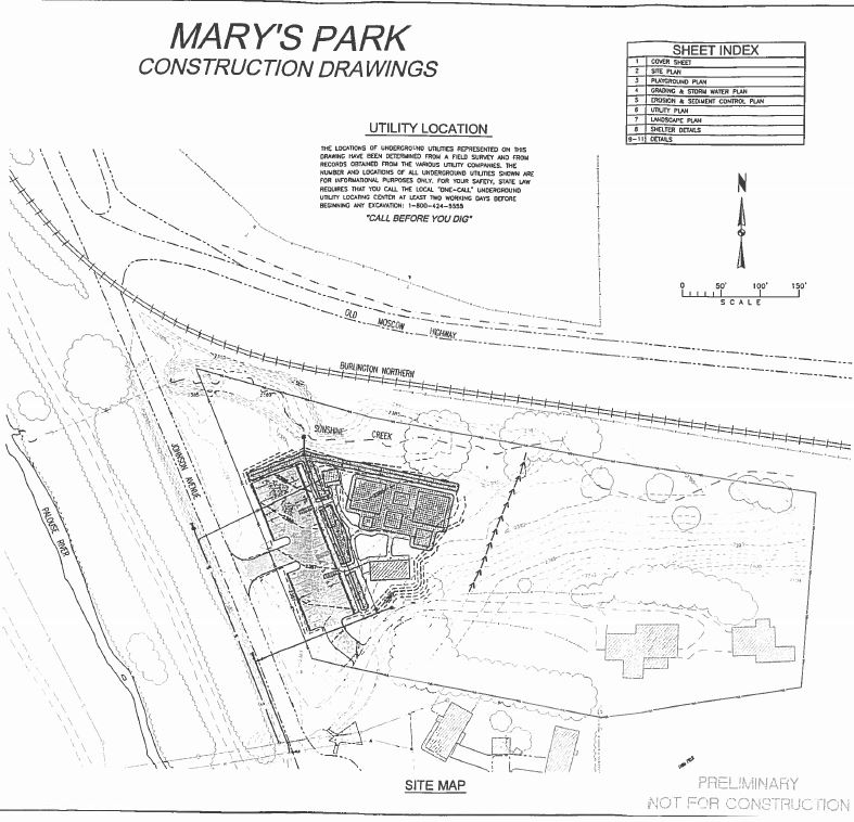 Construction drawings for Mary's Park